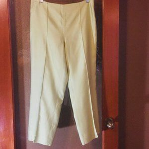 Ann Taylor Green Silk Capri Crop Pants